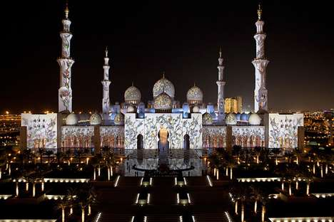 Amazing Anniversary Light Shows - Obscura Digital Illuminated the Sheikh Zayed Grand Mosque