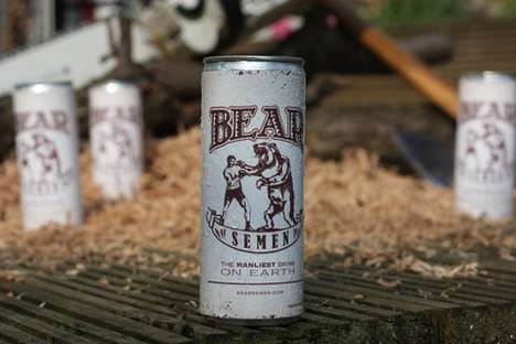 Manly Beverage Packaging - Bear Semen Energy Drink Will Give You a Boost in One Shot