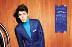 Technicolored Suit Shoots - The Isaac Carew for GQ Japan Editorial Features Brightly-Hued Looks