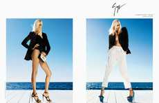 Contempo-Chic Boardwalk Fashion - Anja Rubik is Striking in Giuseppe Zanotti Spring Summer Ads