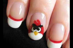The Adorable Angry Bird Manicures by YouTube Channel CutePolish