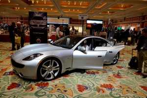The Fisker Karma Supercar at CES 2012 is Equipped with Large Solar Panels