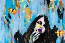 Haunting Streaky Portraits (UPDATE) - Joshua Petker Illustrates Females Amid Colorful Messes