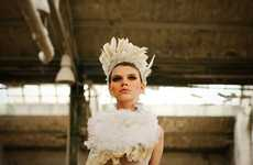 Ivory Plumed Headpieces