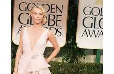 Pale Polished Frocks - The 2012 Golden Globes Red Carpet Was Awash with Neutral Tones