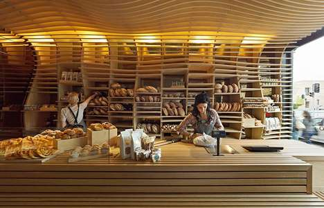 Undulating Wood Bakeries - Baker D. Chirico Interior Features Plywood Walls & Ceiling