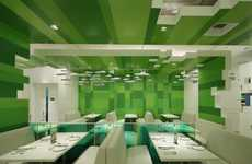 Green-Hued Eatery Interiors - The P.S. Restaurant is Restfully Futuristic