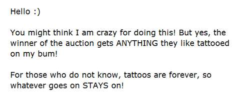 Bum Tattoo Auction