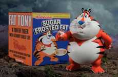 Portly Cereal Icons - Fat Tony the Tiger by Ron English Warns Against Sugary Breakfasts