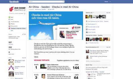 air china facebook check in