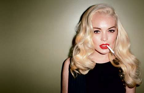 Sultry Smoking Celeb Shoots - The Lindsay Lohan LOVE Magazine Shoot Channels Marilyn
