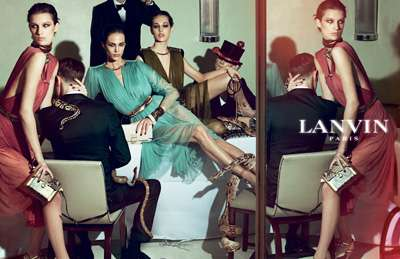 Disordered Dinner Party Campaigns - Lanvin Spring Summer 2012 by Steven Meisel is Stylishly Chaotic