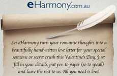 Romantic Message Deliveries - eHarmony Australia 'Love Letters' Campaign Handwrites Notes for You