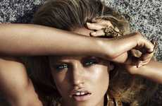 Metallic Seaside Shots - The Gerogia May Jagger Harper's Bazaar UK Shoot is Stunning