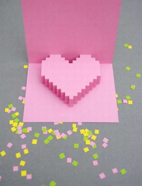 Valentines Pixelated Popup Card