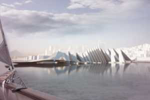 This America's Cup Pavilion Takes its Form From Lofty Yacht Sails