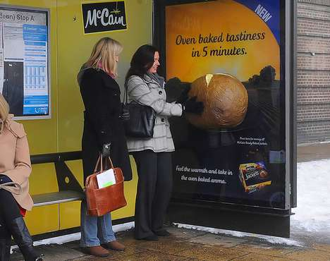 Scent-Emitting Bus Stops - McCain Ready Baked Jackets Campaign Offers Smell of Baking Food