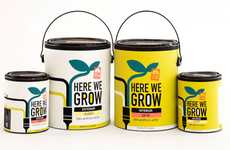 Burgeoning Pigment Branding - Here We Grow Paint Packaging References the Product's Grass Roots