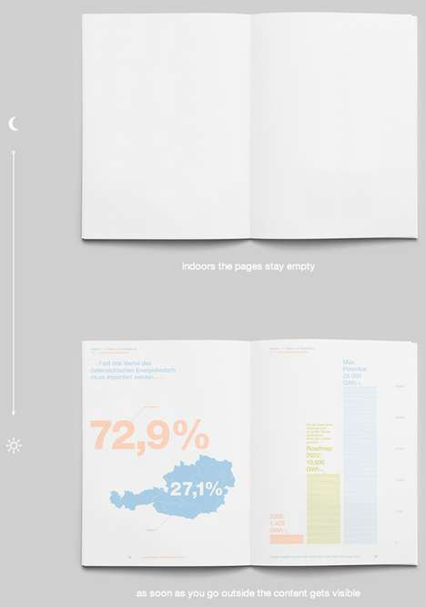 Solar-Activated Infographics  - Austria Solar's Pamphlet Requires the Sun to Display its Text