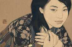 Gold-Laced Girl Illustrations - Ikenaga Yasunari Uses Expensive Element as a Medium