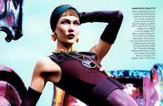 Jewel-Toned Graffiti Shoots - Karlie Kloss Rocks Fierce Textures for a Vogue US March 2012 Editorial
