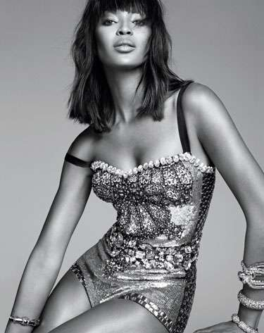 Decadently Metallic Fashion - Naomi Campbell Stars in an Editorial for Harpers Bazaar