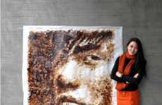 Hong Yi Crafts an Astounding Portrait Out of Coffee Stains