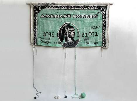 Knitted Credit Cards - Money by Dimitri Tsykalov Represents Unraveling Economies