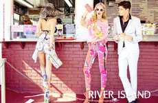 Patterned Vacation Ads - The River Island Spring/Summer Campaign Features Bold Hues