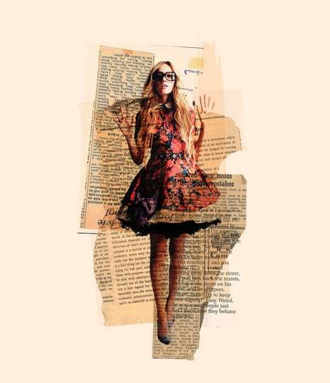 Fashionable Newspaper Collages - These Arian Behzadi Portraits are Retro-Inspired