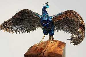 Laurel Roth Creates Peacock Sculptures Using Fake Fingernails & Hairclips
