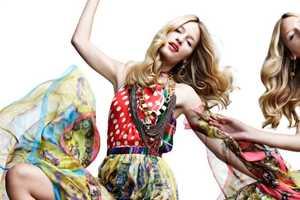 Linda Vojtova Models Patterned Dresses for Woman Spain March 2012