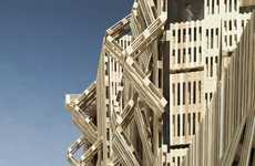 Stacked Stick Structures - The Wood Pallet Facade by Stephane Malka is Bold and Dynamic