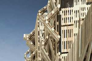 The Wood Pallet Facade by Stephane Malka is Bold and Dynamic