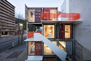The Sugoroku Office by Daiken-Met Architects is Stacked Cargo Boxes