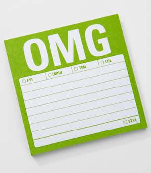 Amusing Abbreviation Stationary - Fred Flare's 'OMG Sticky Notes' Boast Slang Terminology