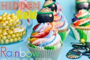 These Hidden Gold Rainbow Cupcakes are a Sweet and Surprising Treat
