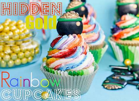 Hidden Gold Rainbow Cupcakes
