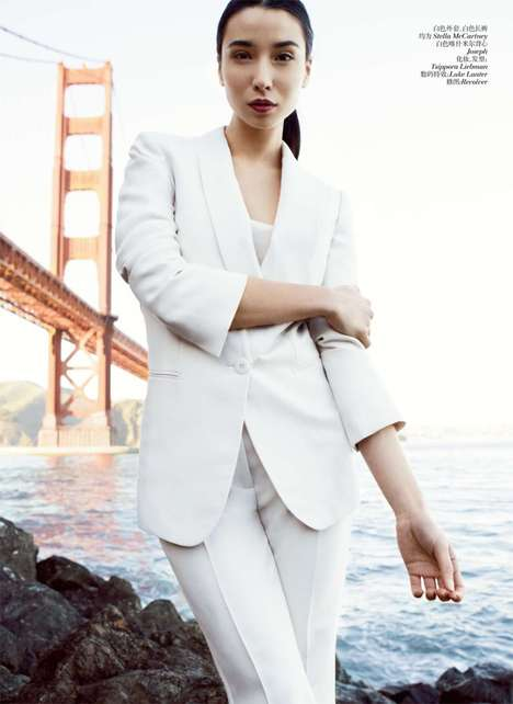 Coastal Couture Captures - Lily Kwong Stars in a California Shoot for Vogue China April 2012