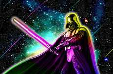 Neon Space Icon Portraits - Fabricio Moura Depicts Star Wars Characters with Chromatic Color Scheme