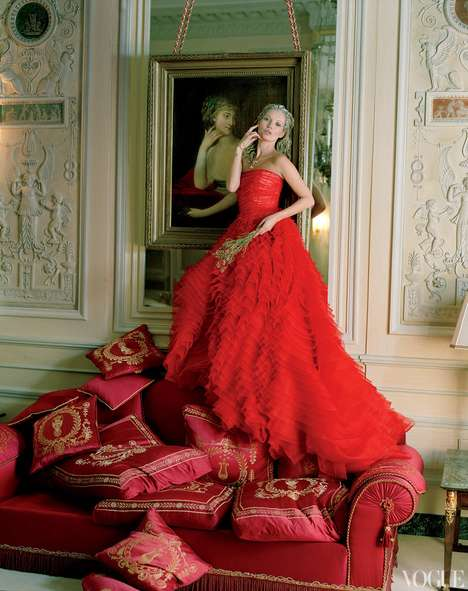 Parisian Boudoir Editorials - Kate Moss at the Ritz by Tim Walker for Vogue US