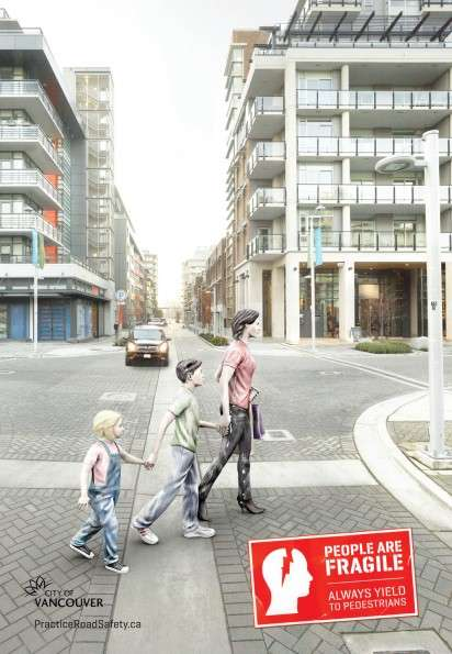 Porcelain Pedestrian Ads - The City of Vancouver People are Fragile Campaign Promotes Safe Crossings