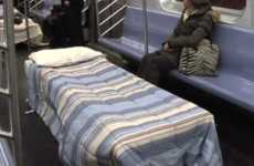 Sleeping Subway Beds - 'The Sleeper Car' by Improv Everywhere Let People Rest Their Eyes