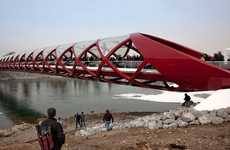 Red Helix Overpasses - The Santiago Calatrava 'Peace Bridge' is Twistingly Sculptural