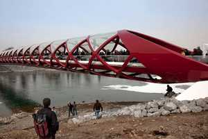 The Santiago Calatrava 'Peace Bridge' is Twistingly Sculptural