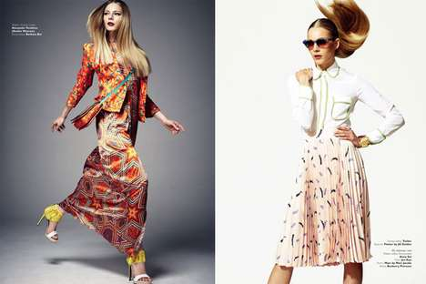 Hair-Swinging Print-Filled Shoots - The Collezioni Russia March 2012 Editorial Stars Ieva Laguna