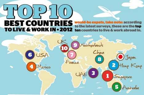 Ex-Patriot Location Guides - The Top 10 Best Countries to Live and Work in 2012 Infographic