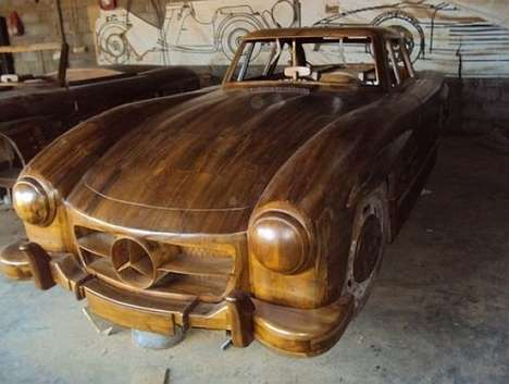 mercedes benz wood car
