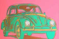 Artfully Depicted Automobile Portraits - Andy Warhol Car Art Colors the Past in Vibrant Hues
