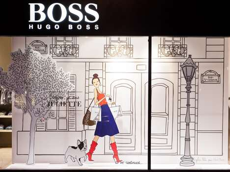 Storefront Story Romances - The Hugo Boss Storybook Window Display Tells a Charming Tale